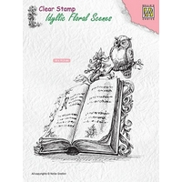 Nellie Snellen Clear Stamps Idyllic Floral Scenes - Book with Owl