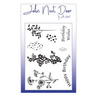 NEW John Next Door Clear Stamp - Spring Flowers 8 pcs