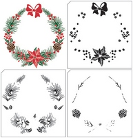 NEW Nellie Snellen Layered Stamps with Position Edge - Christmas Wreath-1